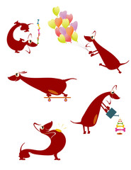 Comic cartoon dog silhouette collection for design