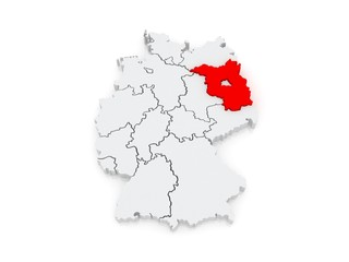 Map of Brandenburg. Germany.