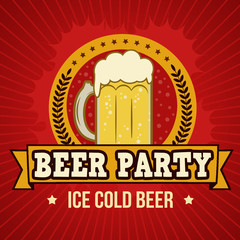 Beer party retro poster