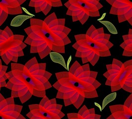 Seamless background with fine outline flowers