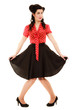 Retro. Full length of woman girl in pinup style