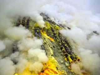 Ceramic Pipes Inside the Kawah Ijen Volcano, Java, Indonesia