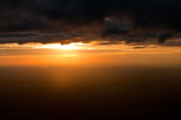 dramatic sunset sky aerial view