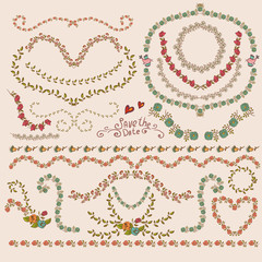Floral Laurels, Ribbons, Wreaths Vector