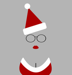 woman wearing santa hat and glasses