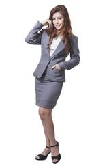 full length brunette businesswoman