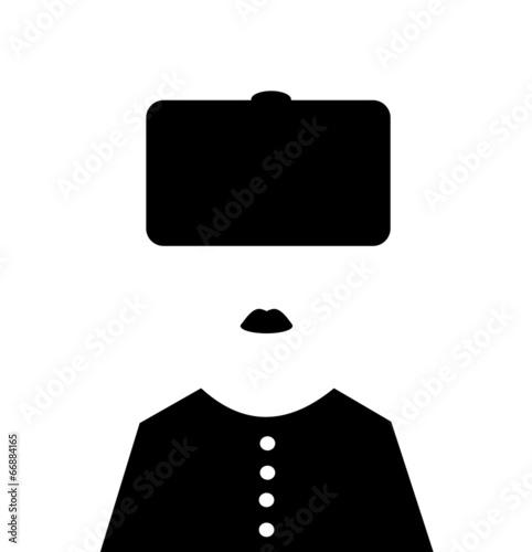 woman wearing russian winter hat - 66884165
