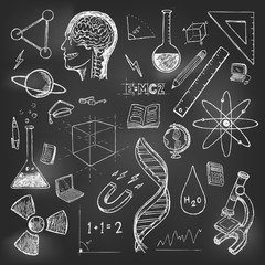 Sciences doodles icons vector set school return