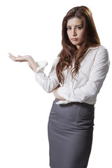 Businesswoman standing bored whit file
