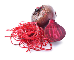 Fresh beetroot on white