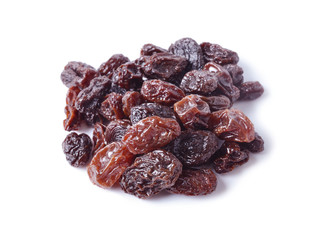 pile of raisins on white background