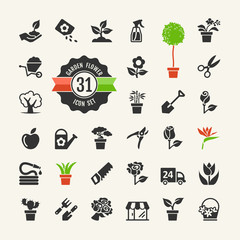 Flower and Gardening Tools Icons set