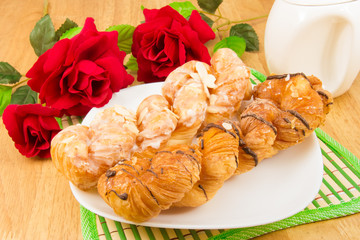 danish pastry twist on wood tabletop