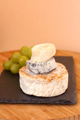Stack of camembert cheese