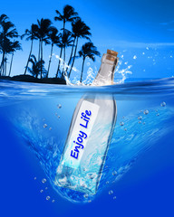 Enjoy life message in a bottle.