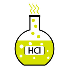 Laboratory glass with hydrochloric acid