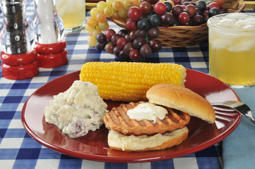 Salmon burger with potato salad