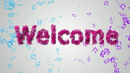 Welcome pink Musical Note Particles  Loop Animation