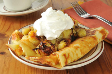 Crepes with fried bananas