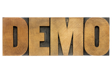 demo word in wood type