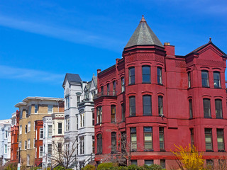 Historic Washington DC rowhouses in spring.