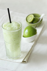 fresh apple smoothies drinks on white background