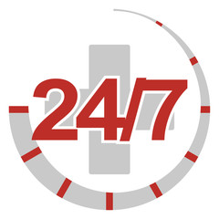 Sign 24/7. Round the clock services. Color of elements changes i