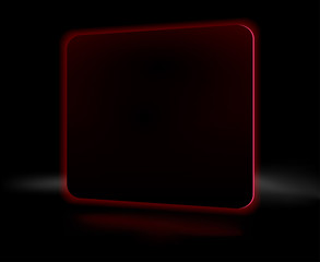 Abstract burning red square on a black background
