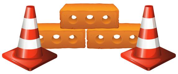 Traffic cones and bricks