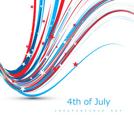 4th july beautiful american independence day flag wire wave vect