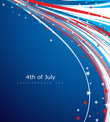 Flag 4th of july american independence day line wave vector desi