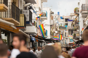 Street with rainbow flags