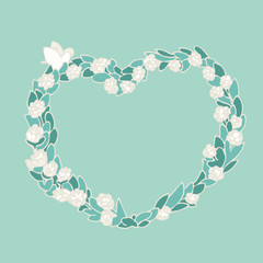 Floral wreath vector illustration, hand drawn