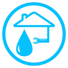 round plumber icon with wrench and house