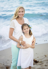 Mother and Daughter Portrait on Beach