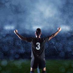 Hispanic Soccer Player Celebrating winning the game