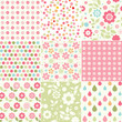 Collection of baby girl seamless patterns