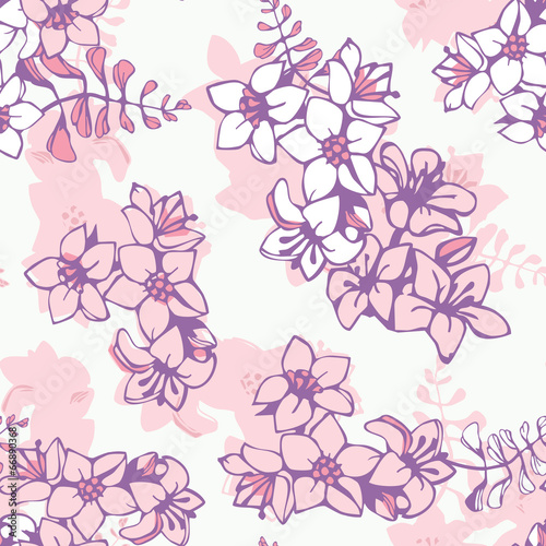 Seamless floral pattern of pink flowers