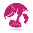 Mother and baby silhouettes icon. Card of Happy Mother's Day
