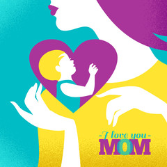 Beautiful silhouette of mother and baby in heart