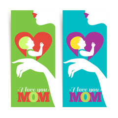 Happy Mother's Day. Banners of beautiful silhouette