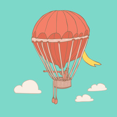 airship design, vector illustration, hand drawn
