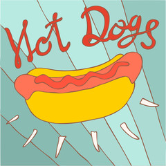 hot dog vector illustration, hand drawn