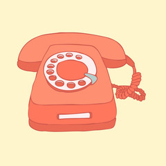 retro (old) telephone vector illustration, hand drawn