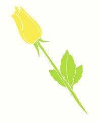 yellow rose, vector illustration, hand drawn