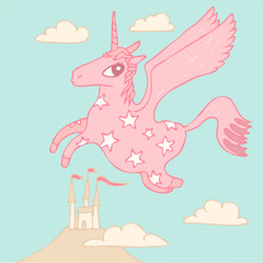 Cartoon magic unicorn vector illustration, hand drawn