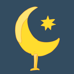 Ramadan moon with star vector illustration, hand drawn