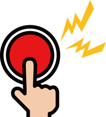 緊急ボタンを押す指