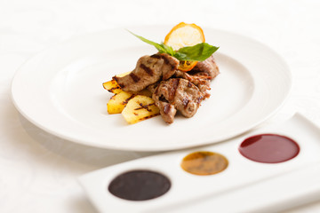 grilled beef with sauce