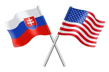 Flags : Slovakia and USA